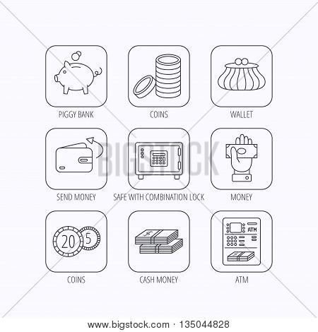 Piggy bank, cash money and wallet icons. Safe box, send money and dollar usd linear signs. Give money, coins and ATM icons. Flat linear icons in squares on white background. Vector
