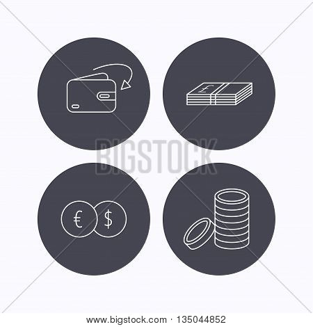 Currency exchange, cash money and coins icons. Receive money linear sign. Flat icons in circle buttons on white background. Vector