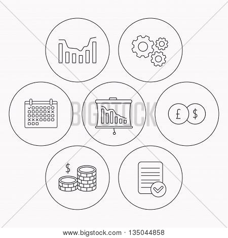 Banking, cash money and statistics icons. Dynamics, currency exchange linear signs. Check file, calendar and cogwheel icons. Vector