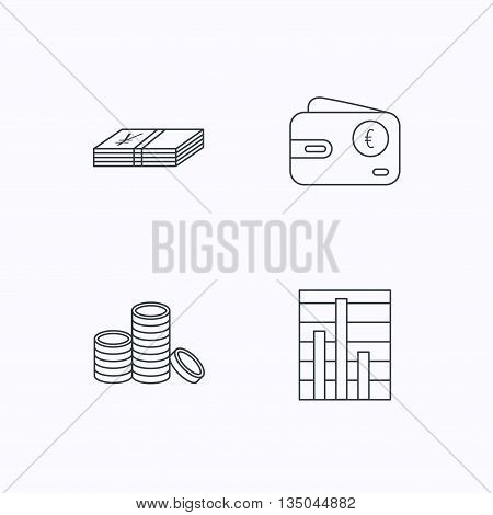 Euro wallet, cash money and chart icons. Coins linear sign. Flat linear icons on white background. Vector