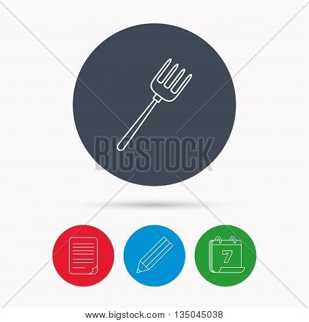 Pitchfork icon. Agriculture sign symbol. Calendar, pencil or edit and document file signs. Vector