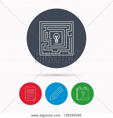 Labyrinth icon. Problem challenge sign. Find solution symbol. Calendar, pencil or edit and document file signs. Vector