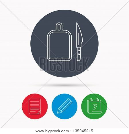 Separating board icon. Kitchen knife sign. Calendar, pencil or edit and document file signs. Vector
