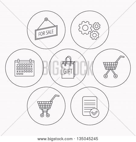 Shopping cart, gift bag and sale icons. For sale linear sign. Check file, calendar and cogwheel icons. Vector