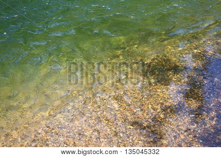 Clear water from the gravel based river