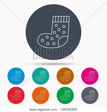Sock icon. Baby underwear sign. Clothes symbol. Icons in colour circle buttons. Vector