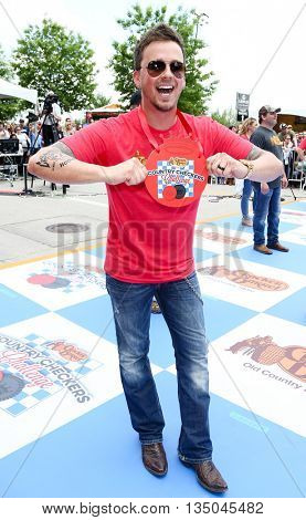 ARLINGTON, TX - APR 18: Stephen Barker Liles of Love and Theft at the Cracker Barrel Old Country Store Country Checkers Challenge at Globe Life Park in Arlington on April 18, 2015 in Arlington, Texas.