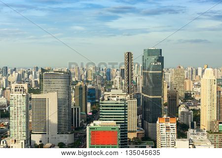 Bangkok City of Thailand on top view with blue skies background.