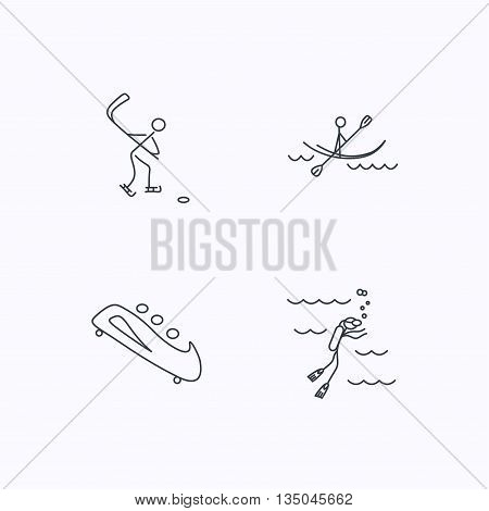 Ice hockey, diving and kayaking icons. Bobsled linear sign. Flat linear icons on white background. Vector