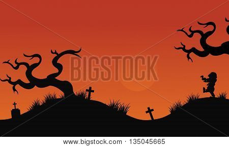 Silhouette of tomb halloween backgrounds at afternoon