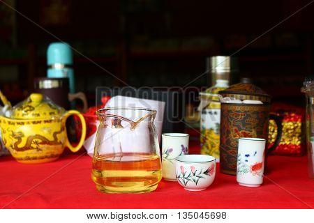 Chinese tea set for tea tasting at the tea shop