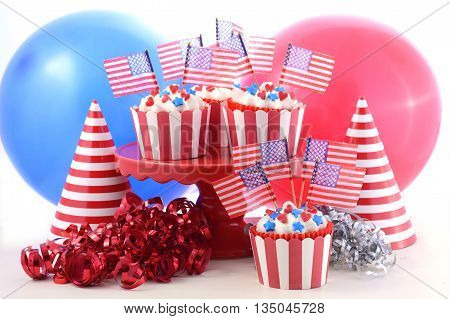 Usa Theme Cupcakes In A Party Scene.