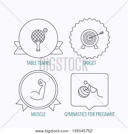 Target, table tennis and biceps icons. Gymnastics for pregnant linear sign. Award medal, star label and speech bubble designs. Vector