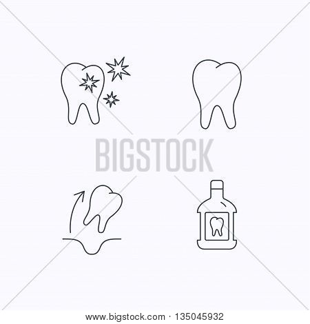 Tooth, mouthwash and healthy teeth icons. Tooth extraction linear sign. Flat linear icons on white background. Vector