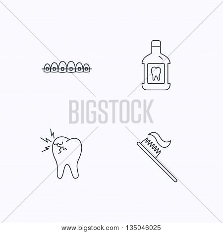 Toothache, dental braces and mouthwash icons. Toothbrush linear sign. Flat linear icons on white background. Vector