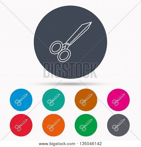 Tailor scissors icon. Hairdressing sign. Grooming symbol. Icons in colour circle buttons. Vector