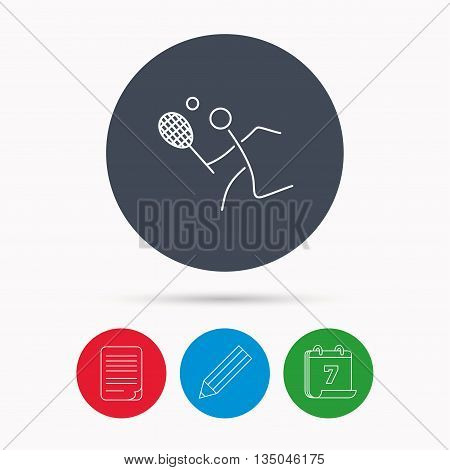 Tennis icon. Racket with ball sign. Professional sport symbol. Calendar, pencil or edit and document file signs. Vector