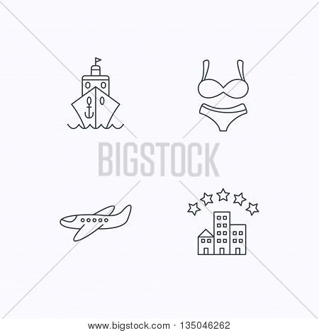 Cruise, lingerie and airplane icons. Hotel linear sign. Flat linear icons on white background. Vector