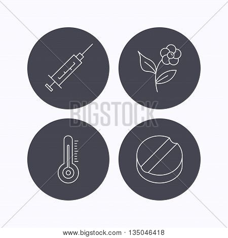 Thermometer, syringe and tablet icons. Flower linear sign. Flat icons in circle buttons on white background. Vector