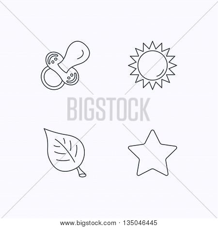 Leaf, star and sun icons. Pacifier linear sign. Flat linear icons on white background. Vector