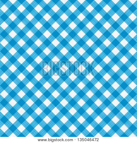 Seamless (you see 4 tiles) blue diagonal gingham pattern background