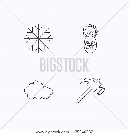 Newborn, cloud and snowflake icons. Hammer linear sign. Flat linear icons on white background. Vector