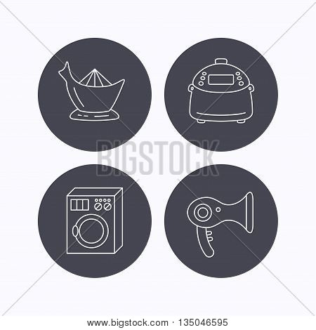 Washing machine, multicooker and hair dryer icons. Washing machine linear sign. Flat icons in circle buttons on white background. Vector