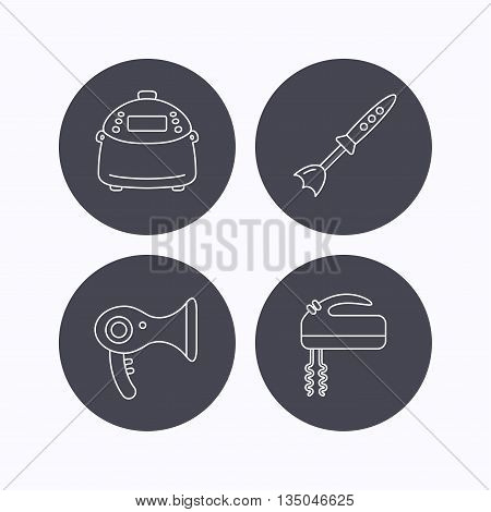 Multicooker, hair-dryer and blender icons. Mixer linear sign. Flat icons in circle buttons on white background. Vector