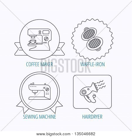 Coffee maker, sewing machine and hairdryer icons. Waffle-iron linear sign. Award medal, star label and speech bubble designs. Vector