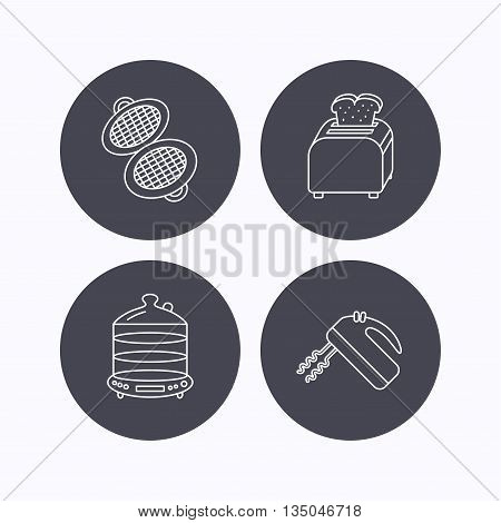 Waffle-iron, toaster and blender icons. Steamer linear sign. Flat icons in circle buttons on white background. Vector