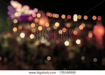 Abstract bokeh night lights with vintage filter, stock photo