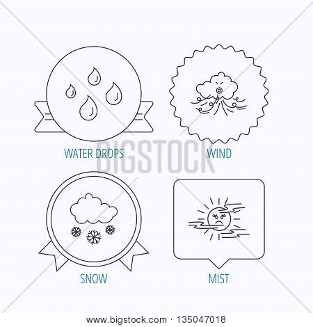 Weather, snow and rain icons. Water drops and mist linear signs. Award medal, star label and speech bubble designs. Vector