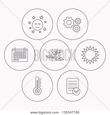 Thermometer, sun and mist icons. Moon night linear sign. Check file, calendar and cogwheel icons. Vector