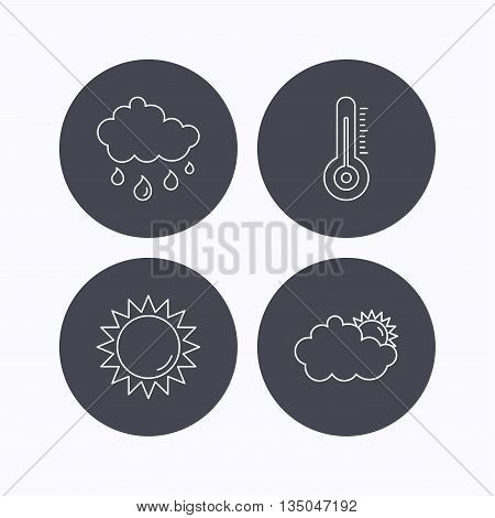 Thermometer, sun and rain icons. Clouds linear sign. Flat icons in circle buttons on white background. Vector