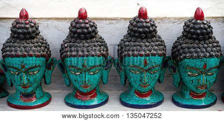 Nepalese sculpture of Buddha kept for sale in the street of KathmanduNepal.