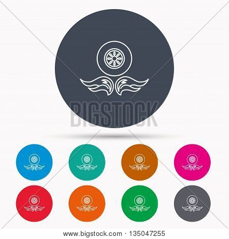 Car wheel icon. Fire flame symbol. Icons in colour circle buttons. Vector