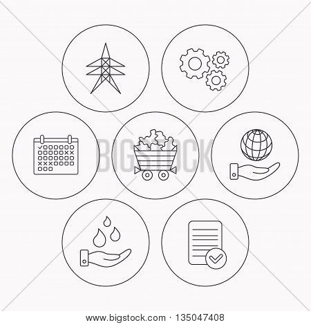 Save water, planet and electricity station icons. Minerals linear sign. Check file, calendar and cogwheel icons. Vector