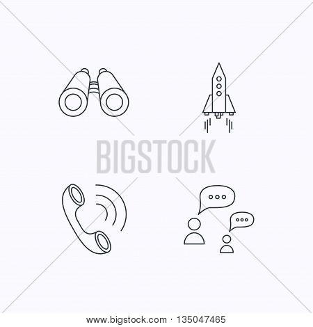 Phone call, chat speech bubble and binoculars icons. Rocket linear sign. Flat linear icons on white background. Vector