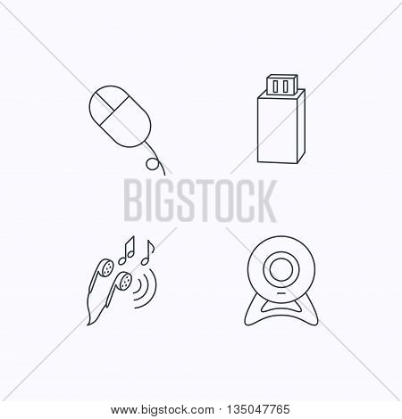 Web camera, USB flash and PC mouse icons. Headphones linear sign. Flat linear icons on white background. Vector