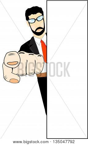 Man indicate finger from for wall on white background is insulated