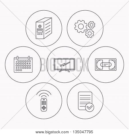 TV remote, VHS cassette and PC case icons. Widescreen TV linear sign. Check file, calendar and cogwheel icons. Vector