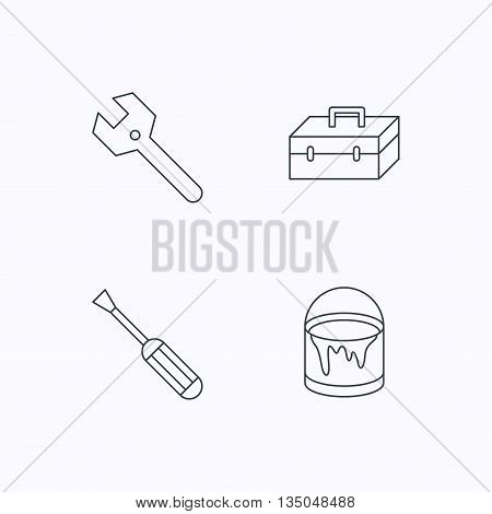 Wrench key, screwdriver and paint bucket icons. Toolbox linear sign. Flat linear icons on white background. Vector