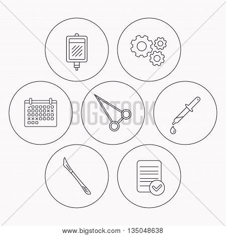 Pipette, blood donation and scalpel icons. Peans forceps linear sign. Check file, calendar and cogwheel icons. Vector
