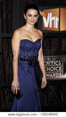 Penelope Cruz at the VH1's 14th Annual Critics' Choice Awards held at the Santa Monica Civic Auditorium in Santa Monica, USA on January 8, 2009.