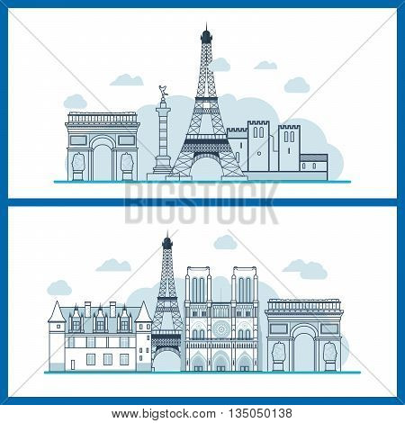 French Landmarks. Travel to France. Eiffel tower, Notre Dame in Paris, France. Thin line building
