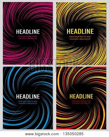 Spiral color speed lines set. Vector layout for business brochures. Spiral action color booklet or banner, swirl radial pattern on banner page illustration
