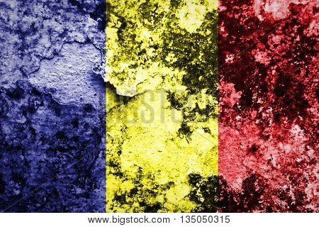 Chad flag on grunge wall  texture background