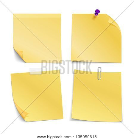 Adhesive blank notes stick with pin, clip and scotch. Paper blank for note message, paper sticker with pin or clip. Vector illustration set