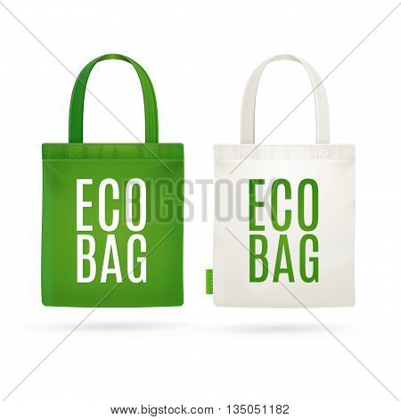 Eco Fabric Cloth Bag Tote Isolated on White Background. Care about the Environment. Vector illustration