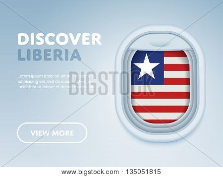 Flight to Liberia traveling theme banner design for website, mobile app. Modern vector illustration.